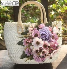 Cheap straw handbag, Buy Quality tote bag directly from China travel tote bag Suppliers: Miwind-F hand-woven flowers DIY small straw handbag,new summer beach travel tote bags,women ladies cute decorate linen bolsa Diy Tote Bag, Tote Bags Handmade, Diy Bags, Crochet Beach Bags, Ethnic Bag, Embroidery Bags, Flower Bag, Straw Handbags, Basket Bag