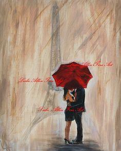 """Couple Art Couple Painting Art Print Eiffel Tower Paris LOVE Kissing Romantic Wall Art Home Decor Loving  """"IM YOURS"""" Leslie Allen Fine Art"""