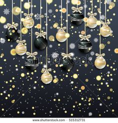 New Year background with golden confetti and Christmas balls, snowflakes on black background. Vector illustration.