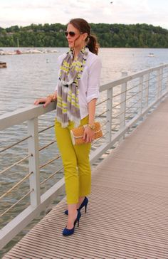 white loft sheer button down, chartreuse/avocado pants and navy shoes