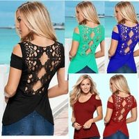 2017 Summer Sexy Blusas Retro Lace Short Sleeve Hollow Backless Off Shoulder Tee Tops Solid Women Plus Size Shirt