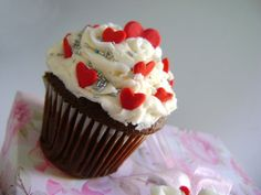 Brownie Cupcakes with Vanilla Buttercream Icing and Heart Candy Design