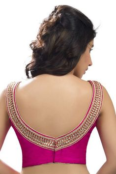 Rani #pink designer #silk sleeveless #blouse with back deep pointed round neck -BL745