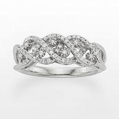 Simply Vera Vera Wang Sterling Silver 3/8-ct. T.W. Diamond Crisscross Ring