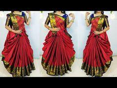 Lehanga Saree wearing/Elegant saree look/Saree dreap in new Style/Wear saree lehanga style - YouTube Lehanga Saree, Half Saree Lehenga, Saree Look, Sarees, Salwar Designs, Blouse Designs, Wedding Dress Suit, Dress Suits, Indian Bridal Lehenga