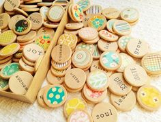 Intentions, Focus, Motivation, Words on Wood Discs, Set of 20