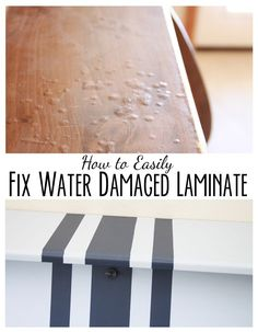 diy furniture How to EASILY paint the PERFECT lines and how to fix water damaged laminate furniture. Two valuable tips and tricks that anyone can do. Plus see a fun transformation from a Particle Board Furniture, Painting Laminate Furniture, Paint Furniture, Furniture Projects, Furniture Stores, Cheap Furniture, Furniture Companies, How To Paint Laminate, Paint Particle Board