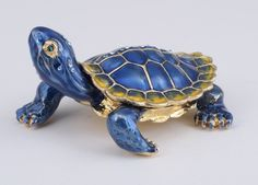 Turtle Trinket box by Keren Kopal Austrian Crystal Jewelry box Faberge