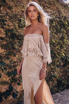Grace Loves Lace Belle Silk Split Skirt in Sandstone Lace Bridesmaid Dresses, Bridal Dresses, Wedding Bridesmaids, Split Skirt, Dresses Short, Grace Loves Lace, Used Wedding Dresses, Wedding Gowns, Occasion Dresses