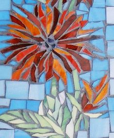 Floral Designs Mosaic Rocks, Mosaic Tile Art, Mosaic Crafts, Mosaic Projects, Mosaic Glass, Stained Glass, Mosaic Designs, Mosaic Patterns, Flower Art