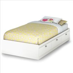 South Shore Spark Collection Twin Mates Bed, Pure White by South Shore Furniture. $171.00. Features 3 pull-out drawers with lifetime-warranted polymer drawer glides that include dampers and stops; Interior drawer dimensions: 22-1/2-inch wide by 17-1/4-inch front to back. Measures 76-1/4-inch wide by 40-1/4-inch deep by 13-3/4-inch high; Mattress and accessories not included. Contemporary twin 39-inch mates bed. Manufactured from  CARB compliant composite wood carrying the ...