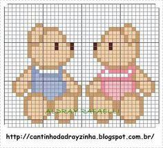 little bears cross stitch Cross Stitch Beginner, Cross Stitch For Kids, Simple Cross Stitch, Cross Stitch Baby, Cross Stitch Animals, Cross Stitching, Cross Stitch Embroidery, Embroidery Patterns, Baby Cross Stitch Patterns