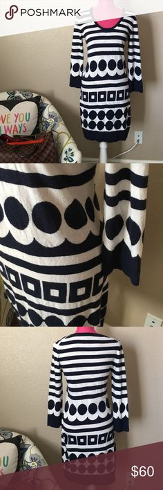 Boden Blue and White Sweater Dress Gorgeous dress in excellent preworn condition. Offers welcome through offer tab. No trades. 11102161901 Boden Dresses Long Sleeve