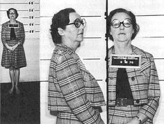 Jessica Mitford's 1970 booking photo before a 24-hour 'imprisonment' at the Women's Detention Center in Washington as part of a conference on prisons.: