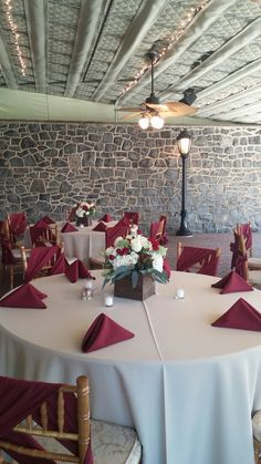 Wine and taupe rustic box centerpiece
