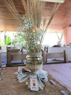 27 Rustic Wedding Decorations You Must Have A Look--rustic table centerpieces Decoration Communion, Baptism Party Decorations, Communion Centerpieces, First Communion Decorations, Shower Centerpieces, Balloon Decorations, Boy Baptism Centerpieces, Boys First Communion, Boy Decor