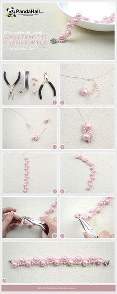 DIY Bracelets with Beads- Wavy Bracelet Crafts for Kids Wire Jewelry, Beaded Jewelry, Jewelery, Beaded Bracelets, Beaded Necklace, Pearl Bracelet, Jade Bracelet, Ankle Bracelets, Handmade Bracelets