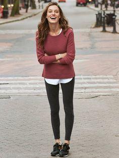 93272b908f504 NEW Athleta M Brick Red Merino Wool Blend Thermal Honeycomb Sweater Top  Medium