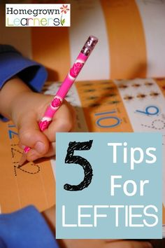 5 Tips for Lefties - Great tips that gives lots of insight into left handedness. Child Teaching, Teaching Writing, Writing Tips, Hand Writing, Learning To Write, Writing Practice, Left Handed Notebooks, Teaching Handwriting, Hand Lettering Tutorial