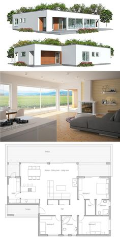 Small Minimalist Home Plan, Affordable modern architecture