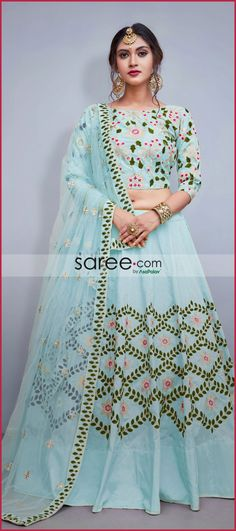 Sky Blue Taffeta Silk Designer Lehenga Choli With Embroidery Indian Lehenga, Silk Lehenga, Blue Lehenga, Choli Designs, Blouse Designs, Indian Dresses, Indian Outfits, Gagra Choli, Long Skirt Outfits