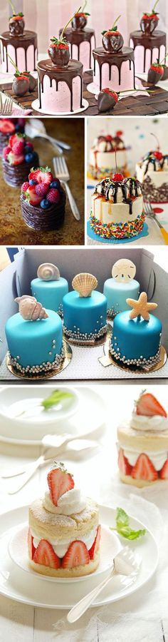 Mini Cakes or Cupcakes💗 Mini Cakes, Cupcake Cakes, Cupcake Ideas, Petit Cake, Cake Recipes, Dessert Recipes, Decoration Patisserie, Individual Desserts, Small Cake