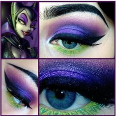 Maleficent eye shadow – Halloween Make Up Ideas Top 10 Halloween Costumes, Halloween Make, Halloween Face Makeup, Skeleton Costumes, Vintage Halloween, Disney Inspired Makeup, Disney Makeup, Maleficent Makeup, Malificent