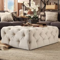 Bourges Rectangular Tufted Cocktail Ottoman by Lark Manor Living Room Sets, Living Room Furniture, Living Room Decor, Bedroom Decor, Bedroom Benches, Wooden Furniture, Bedroom Ideas, Home Interior, Interior Design Living Room