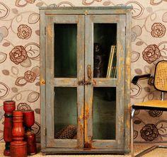 Vintage Distressed Blue Paint Rustic Glass Storage Kitchen Bathroom Cabinet
