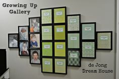 """Use matching frames to create a """"Growing Up Gallery"""" of all your school pictures!"""