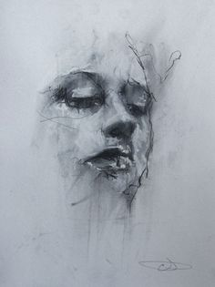 efedra:  Black Dress (conte and chalk on paper) by Guy Denning