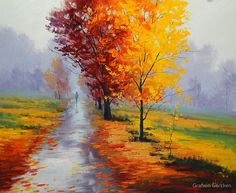 The Lonely Road Wallpaper Landscape Nature Wallpapers) – Wallpapers Watercolor Landscape, Landscape Paintings, Watercolor Art, Colorful Drawings, Art Drawings, Autumn Leaves Wallpaper, Field Wallpaper, Painting Wallpaper, Illustration Art