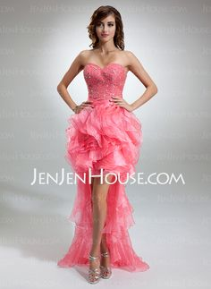 Prom Dresses - $168.99 - A-Line/Princess Sweetheart Asymmetrical Organza Charmeuse Prom Dress With Ruffle Beading (018016377) http://jenjenhouse.com/A-Line-Princess-Sweetheart-Asymmetrical-Organza-Charmeuse-Prom-Dress-With-Ruffle-Beading-018016377-g16377