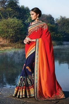 Red  Dhupian Wedding Saree