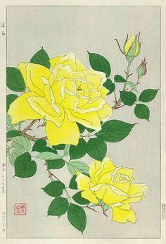 Roses, Yellow  by Kawarazaki Shodo  (published by Unsodo)