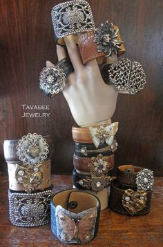 Upcycled leather cuff bracelet with Antique French Coin by TaVaBee