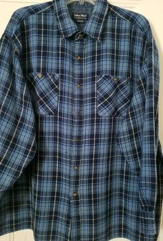 b139f0198f0 Details about John Blair Mens Shirt Size 2XL Blue Plaid Flannel Button Down  L S Pocket Casual
