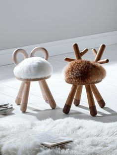 Made from solid wood with a sheepskin effect seat cover, our sweet sheep stool has two little horns and four sturdy legs, while our sweet, bambi-inspired deer stool has a fallow deer effect seat cover and two little antlers. The perfect gift for any little one, they also make a stylish addition to your living space.