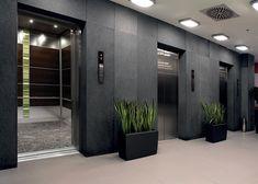 웬지 나무 베니어 주요 패널 LEVELe-107 엘리베이터 인테리어; 리넨 마무리 스테인레스 스틸에 악센트 패널; 개인 위치에 유카 층간와 ViviGraphix 요소 유리 LightPlane 패널