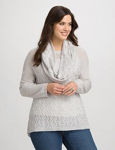 Plus Size Textured Shimmer Sweater with Scarf