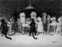 CATS' BRIDGE CLUB by LOUIS WAIN (1860-1939)