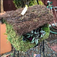 Rustic Thatched Birdhouse Planter Prop