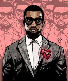 A detailed sketch of Kanye West. Centralised, Heartbroken, Formal
