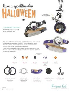 Our new releases! Halloween 2016 from Origami Owl! www.charmingsusie.origamiowl.com