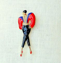 Vintage Enamel Brooch Art Deco Woman Figural Pin 1920's Fashion Red Black Blue Gold via Etsy