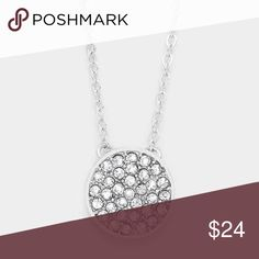""" new  ..in progress.. • Color : Clear, Rhodium  • Necklace Size : 16"""" + 2"""" L • Pendant Size : 0.5"""" X 0.5"""" • Crystal pave disc pendant necklace GoodChic Jewelry Necklaces"""