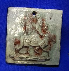 Vintage German Art Pottery Ornament Santa Clause on Horse