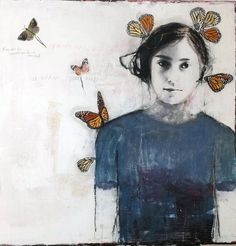 Thompson Landry Gallery - Dominique Fortin portrait of girl with butterflies Painting On Photographs, Paintings, Moustaches, Ephemeral Art, Butterfly Drawing, Spirited Art, Found Object Art, Insect Art, Portrait Art