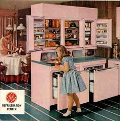 vintage GE refrigerator centre - a hole cabinet dedicated to cooling your food