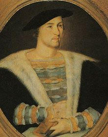 William Carey  - first husband of Mary Boleyn.  My 13th Great Grandfather.  However, as the story goes, there is speculation as to whether or not Mary's children Catherine and Henry were actually fathered by King Henry VIII during their affair.  Catherine is my 12th Great Grandmother.
